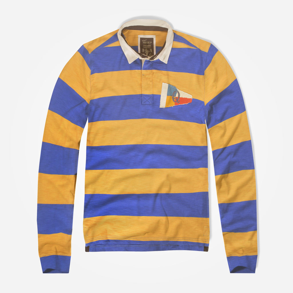 Men's Henry James Long Sleeve Stripped Applique Rugby Shirt - Mustard-Blue - klashcollection - 1