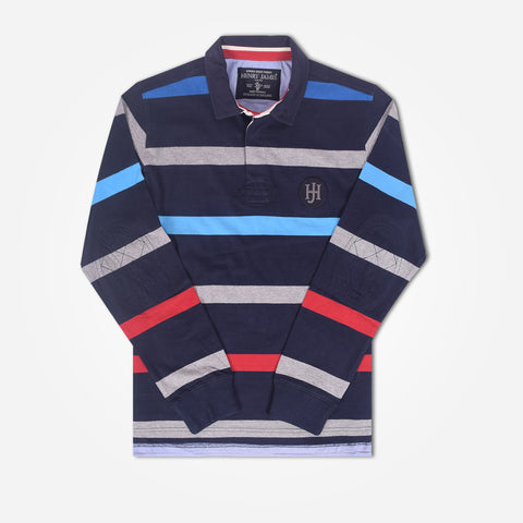 Copy of Men's Henry James Long Sleeve Stripped Applique Rugby Shirt - Multi - klashcollection - 1