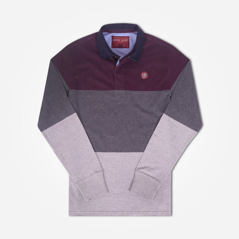 Copy of Men Henry James Engineered stripe Rugby - Maroon/Mid Grey/Grey - klashcollection - 1