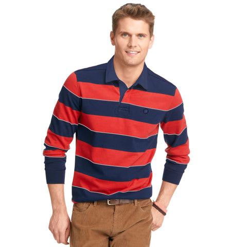 Men's Henry James Long Sleeve Stripped Applique Rugby Shirt - Navy-Red - klashcollection - 1