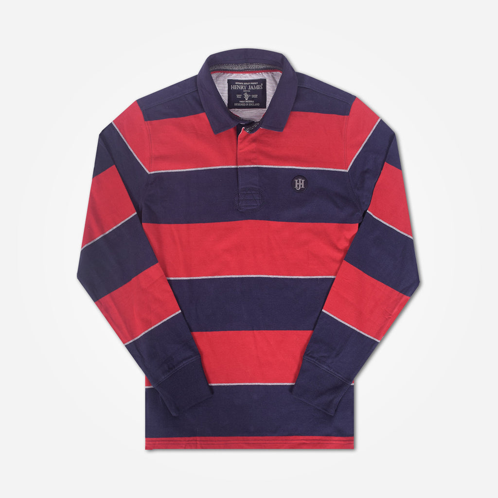 Men's Henry James Long Sleeve Stripped Applique Rugby Shirt - Navy-Red - klashcollection - 2