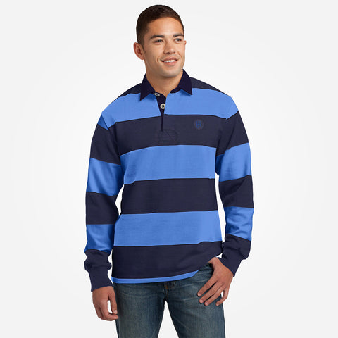 Men's Henry James Long Sleeve Stripped Applique Rugby Shirt - Navy-Blue - klashcollection - 1