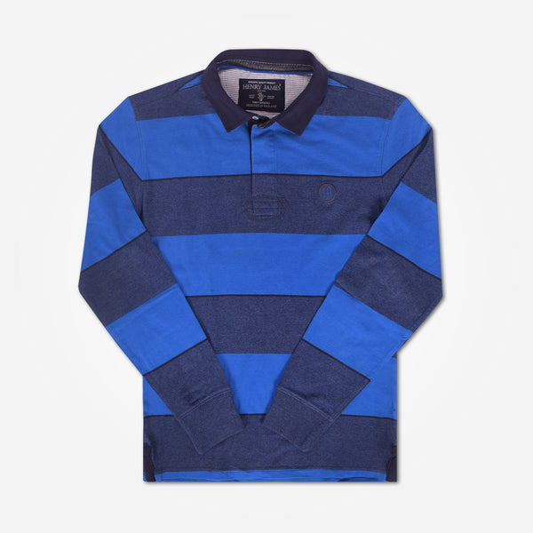 Men's Henry James Long Sleeve Stripped Applique Rugby Shirt - Navy-Blue - klashcollection - 2