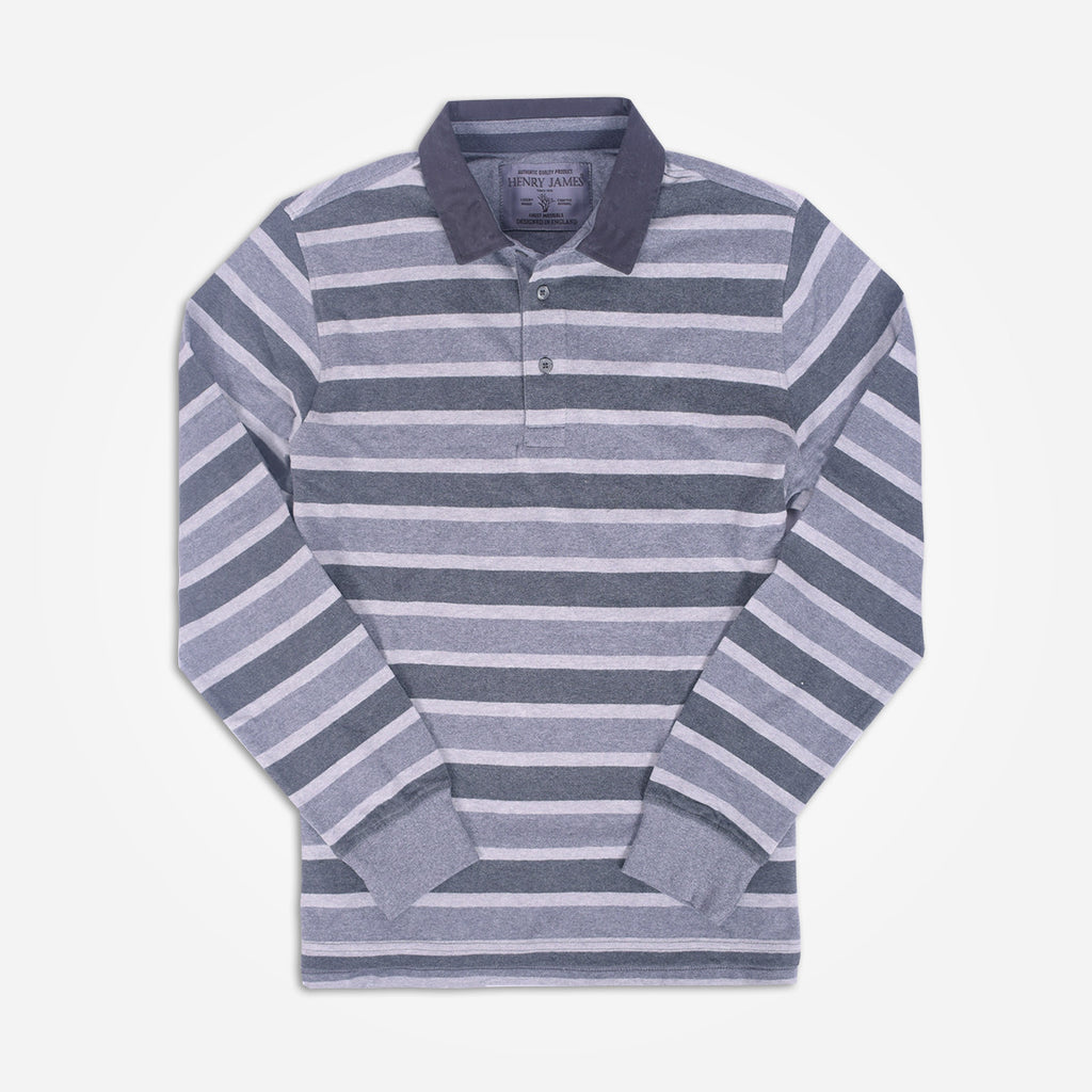 Men's Henry James Long Sleeve Stripped Rugby Shirt - Grey/Charcoal - klashcollection - 1