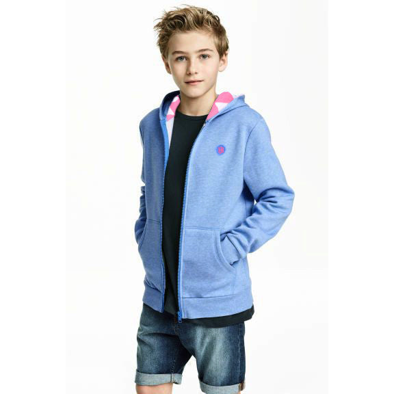 Kid's Henry James Zip Through Hooded with back print - Grey Marl - klashcollection - 1