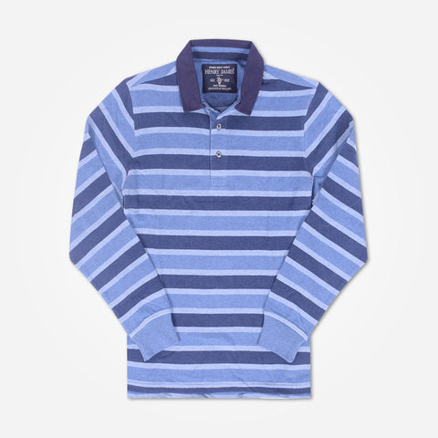 Men's Henry James Long sleeve Rugby shirt - Blue/Sky - klashcollection - 1