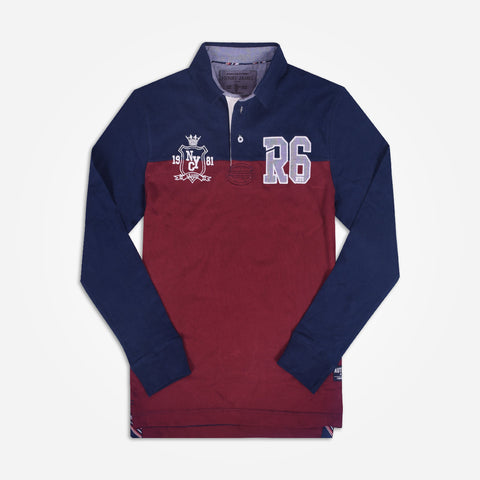 Men's Henry James Long sleeve Rugby shirt -Burgundy/ Navy - klashcollection - 1