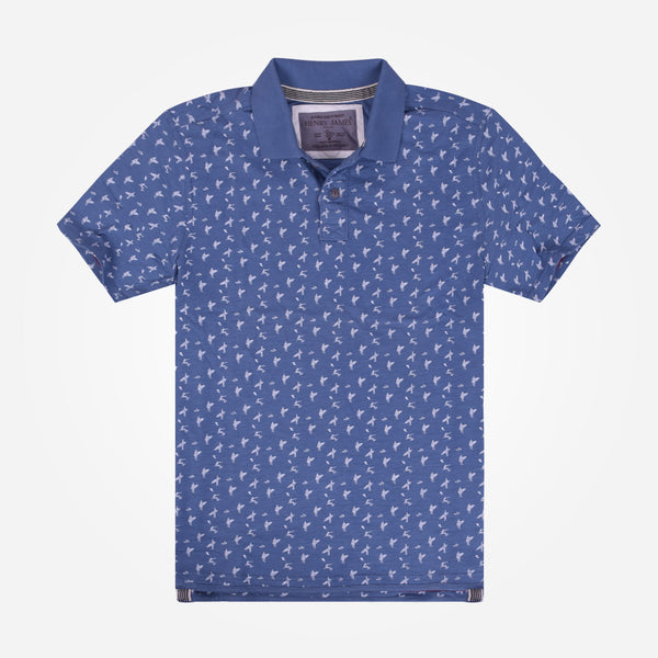 Men's Henry James Allover Printed  Polo Shirt - Blue
