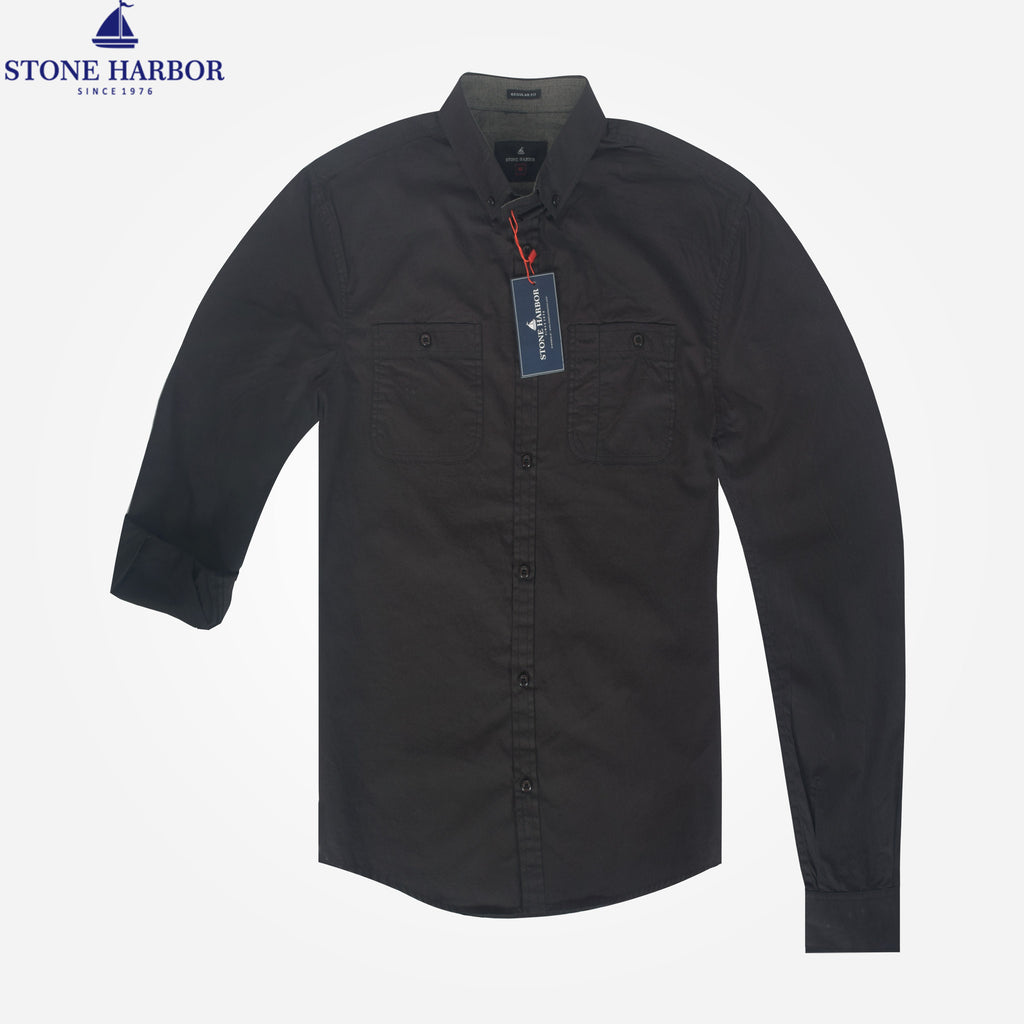 Men's Stone Harbor Double Pocket Hilton Casual Shirt - Black/Navy - klashcollection - 1
