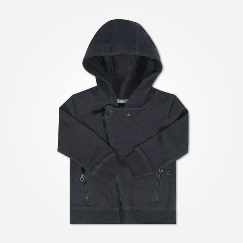 Kids Henry James Cross Zipper Hoodie - Charcoal - klashcollection - 1