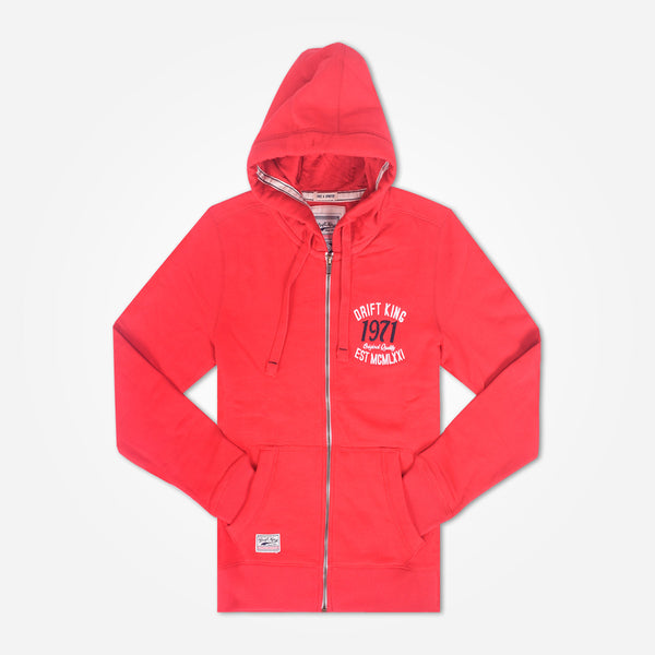 Men's DRIFT KING  Zip Through Hooded - Blood Red - klashcollection - 1