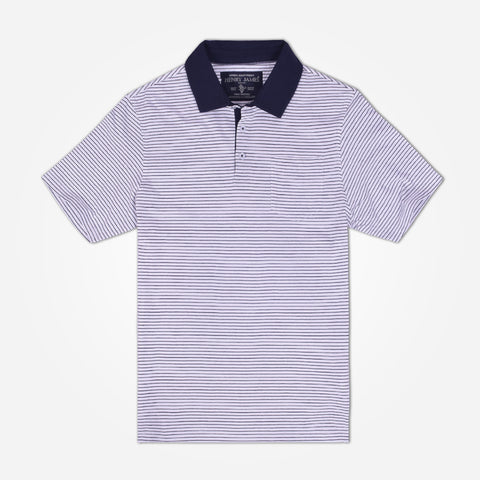 Men's Henry James Contrast collar Polo Shirt - White/Navy