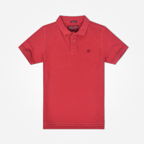 Men's Henry James Solid Signature Polo Shirt - Burnt Red
