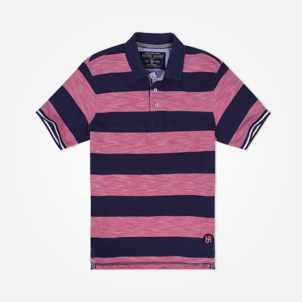 Men's Henry James  Short Sleeve Textured Striped Polo Shirt