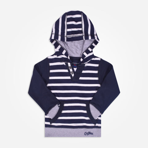 Kids Henry James Dyed yarn Striped Button up Spring Hoodie _ Navy - klashcollection - 1