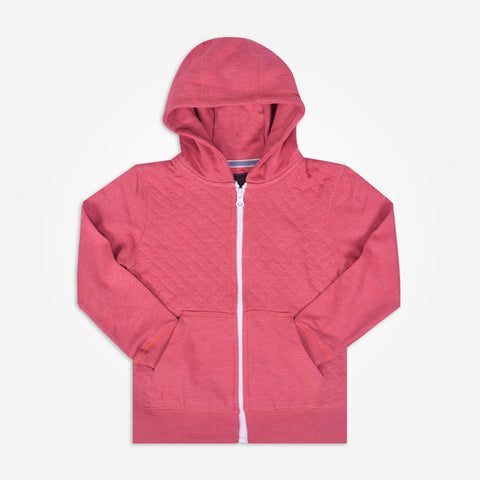 Copy of Kids Henry James Quilted Fabric zip through Hoodie - Pink - klashcollection - 1
