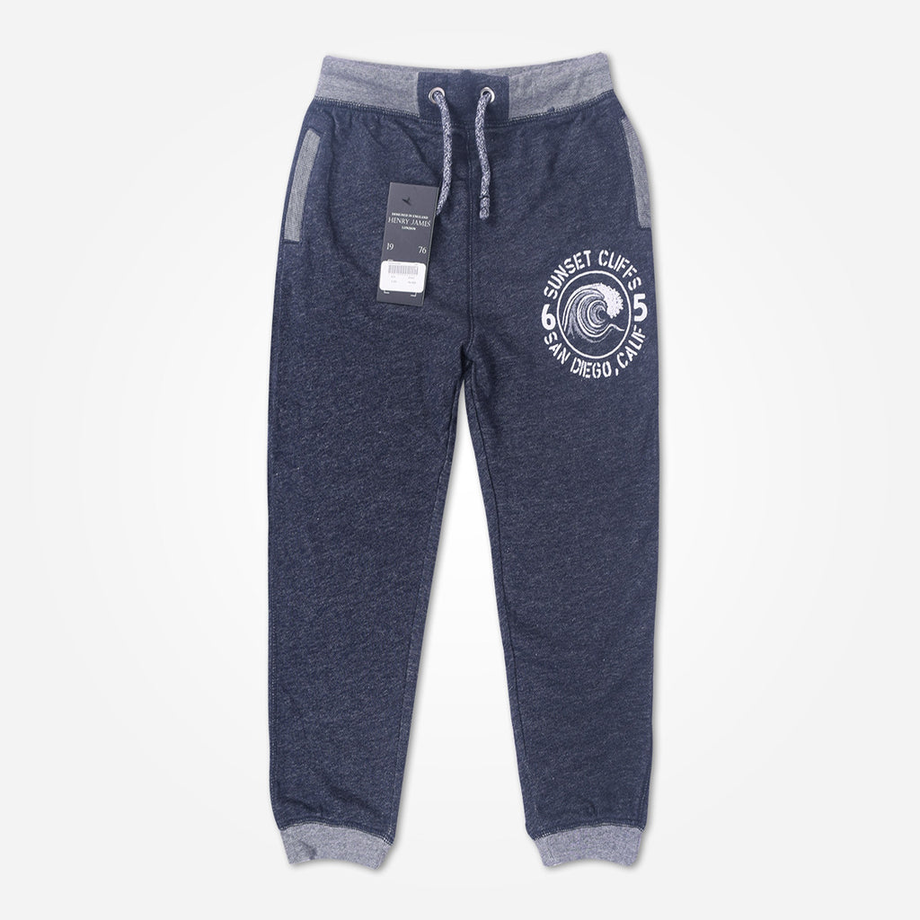 Kid's Henry James close bottom Jogger With Front Badge-Navy/Marl - klashcollection - 1