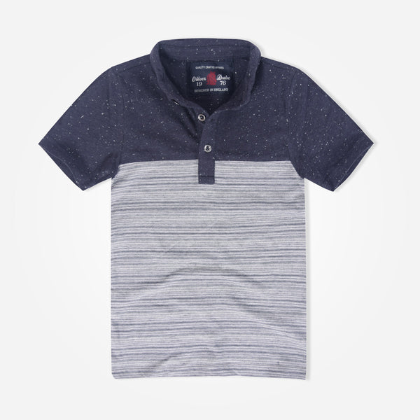 Kids Oliver Duke Contrast Textured Paneled Polo Shirt - klashcollection - 1