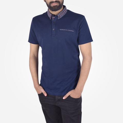 Men's Henry James Contrast Collar Polo Shirt - Navy