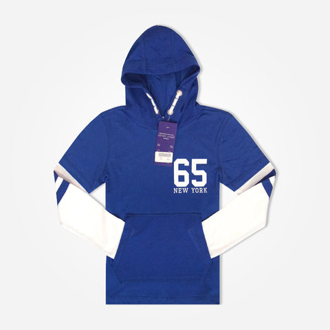 "Kid's Henry James Kangaroo Pocket ""65"" Printed Summer Hoodie - Cobalt"