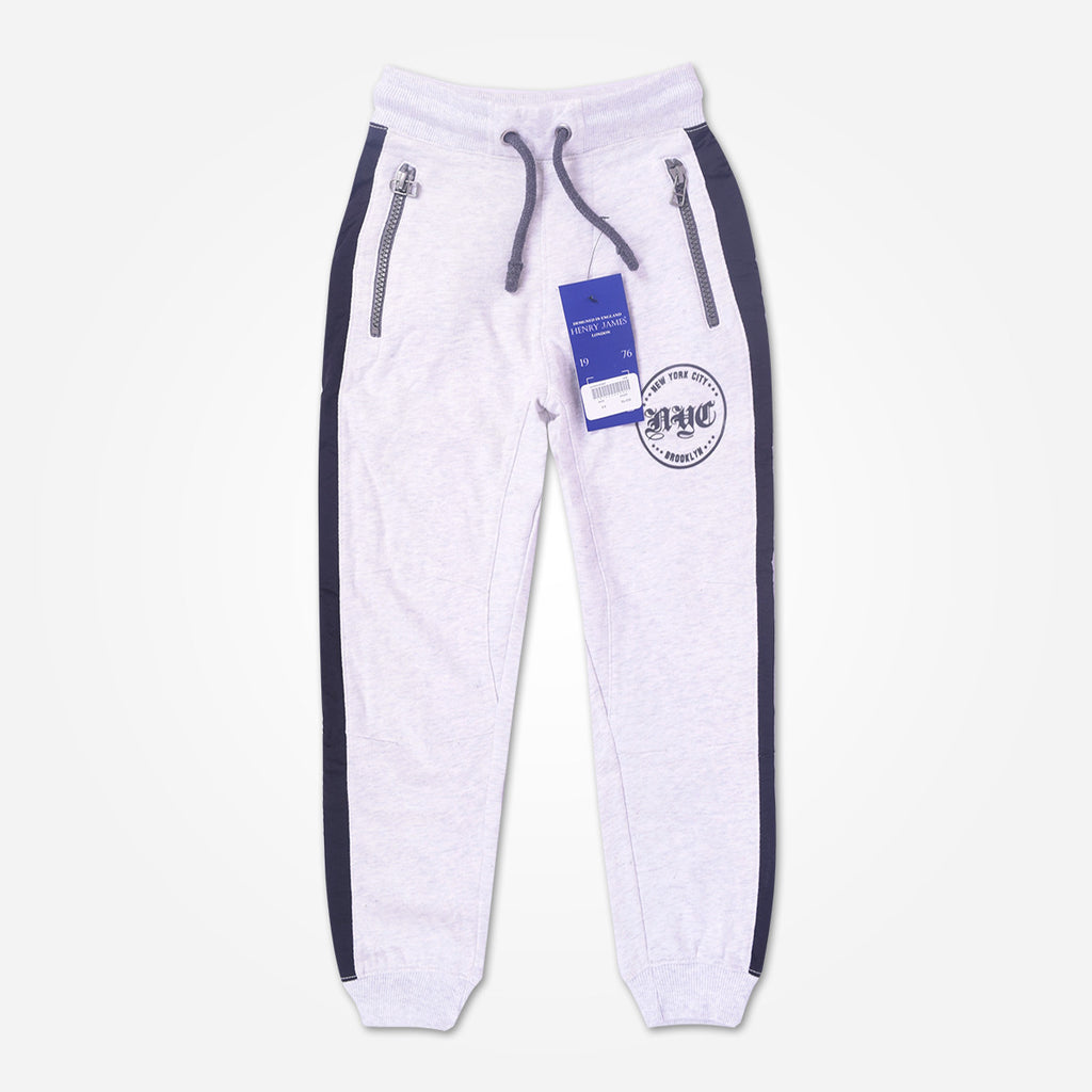 Kid's Henry James close bottom Jogger with side panels - Heather Grey - klashcollection - 1