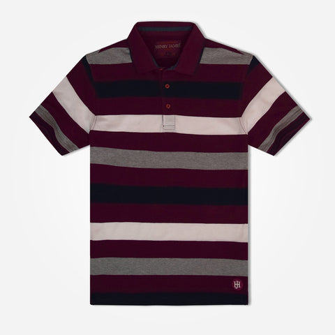 Men's Henry James  Pattern Striped Polo Shirt - Burgundy