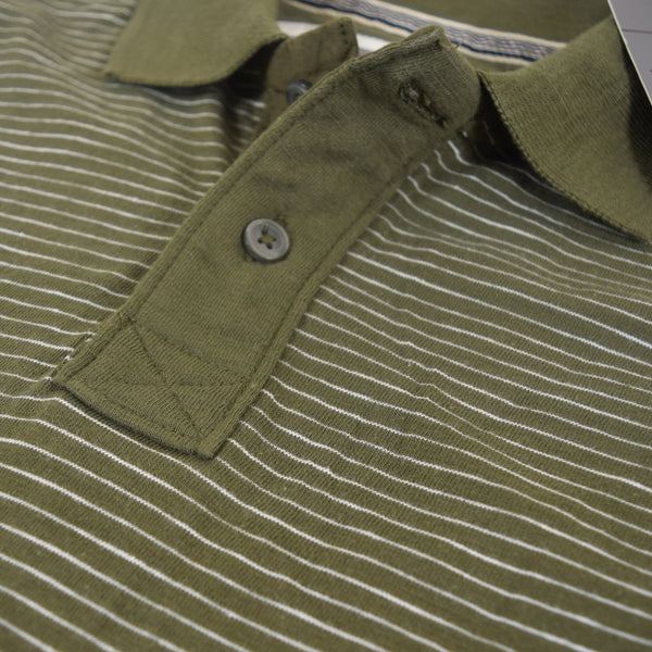 Men's Henry James dyed Yarn Thin Strip Self Collar Polo Shirt - Green - klashcollection - 3