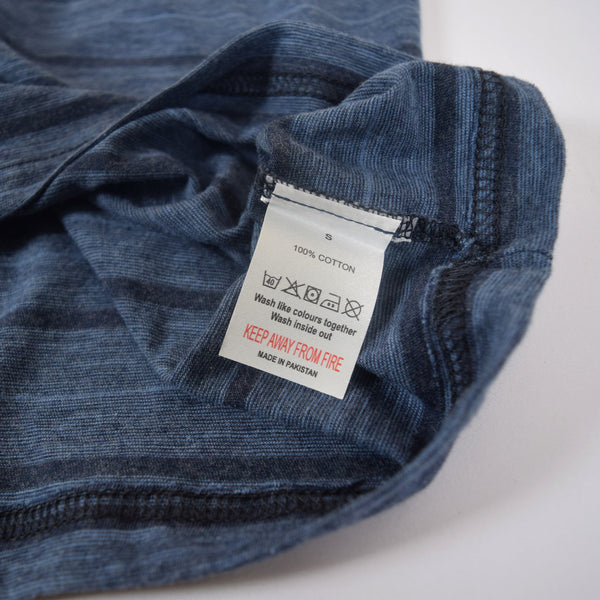 Men's Henry James Dyed Yarn Crew neck Tee Shirt - Jeans Marl / Navy - klashcollection - 2
