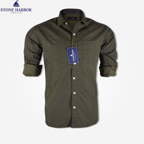 Men's Stone Harbor Long Sleeve Regular Fit Casual Shirt - Dark Olive