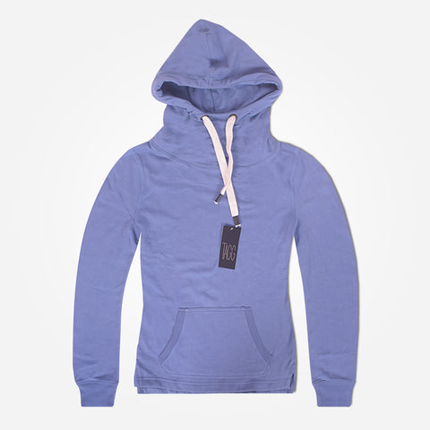 Ladies Turtle Neck Pull Over Hooded - Light Indigo - klashcollection - 1