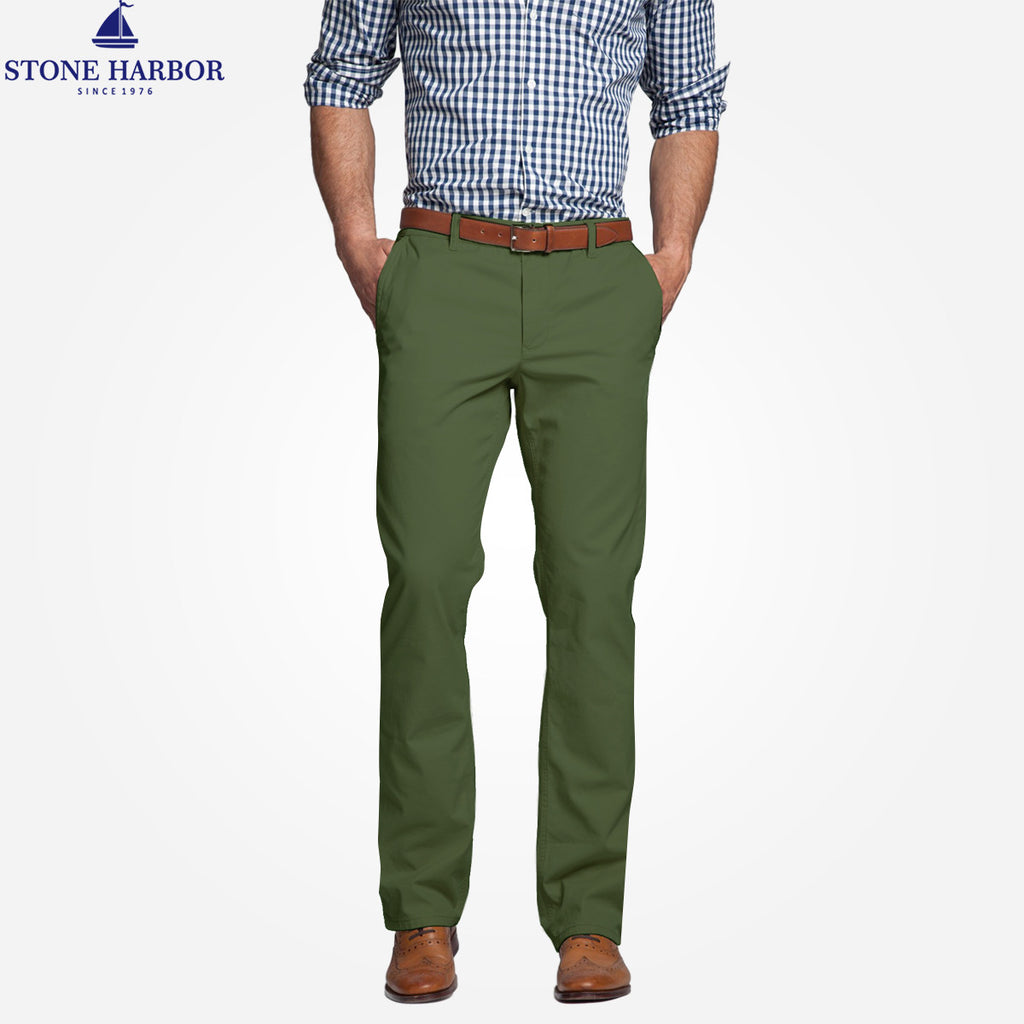 "Copy of Men's ""Stone Harbor"" Slim fit Cotton Chino Pant - Army Green - klashcollection - 1"