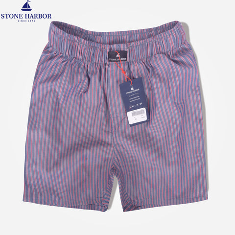 Men's Stone Harbor Red Grey Scale Striped Woven Boxer Short - klashcollection - 1