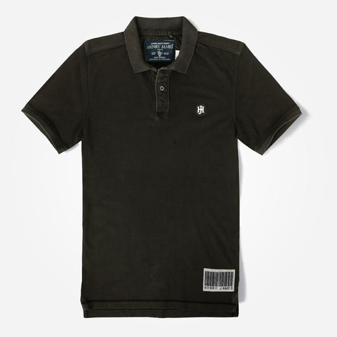 Men's Henry James Heavy Washed Polo Shirt - Chocolate Brown
