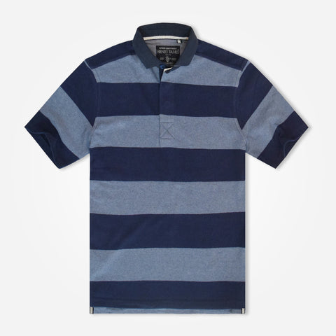 Men's Henry James striped hidden placket Polo Shirt - Navy/Blue
