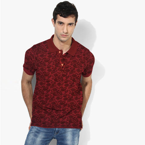 Men's Henry James Allover Printed Polo Shirt - Burgundy