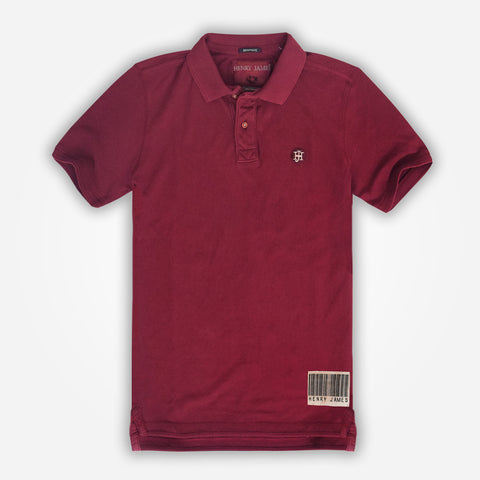 Men's Henry James  Solid Signature Polo Shirt - Burgundy