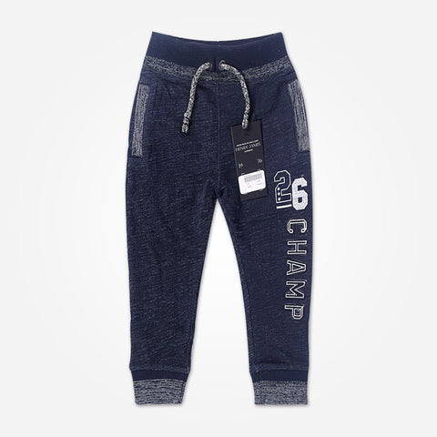 Kid's Henry James close bottom Jogger With CHAMP Print-Navy/Gray - klashcollection - 1