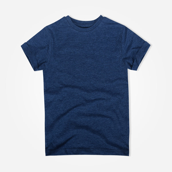Kids Oliver Duke Cotton Rich Basic Blue Marl Crew Neck T-Shirt - klashcollection - 1