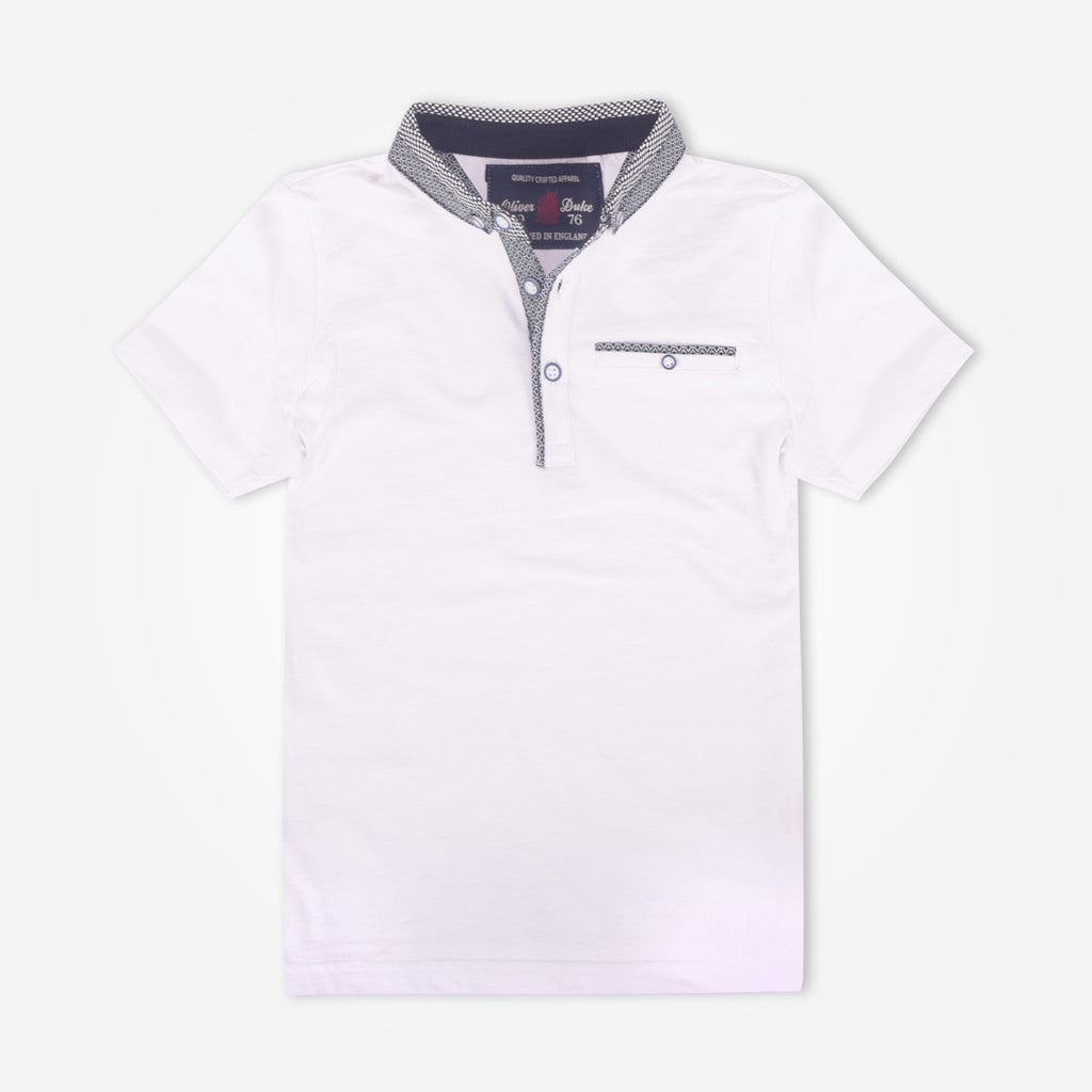 Kids Oliver Duke Gingham Collar Pocket Polo Shirt - klashcollection - 1