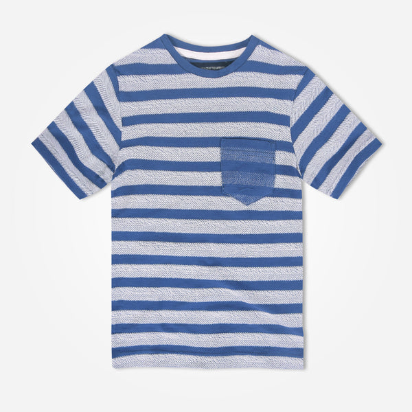 Kids Oliver Duke Jacquard Striped Crew Neck T-Shirt - klashcollection - 1