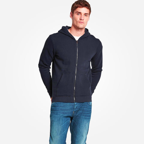 Men's Henry James zip through Hoodie - Navy - klashcollection - 1