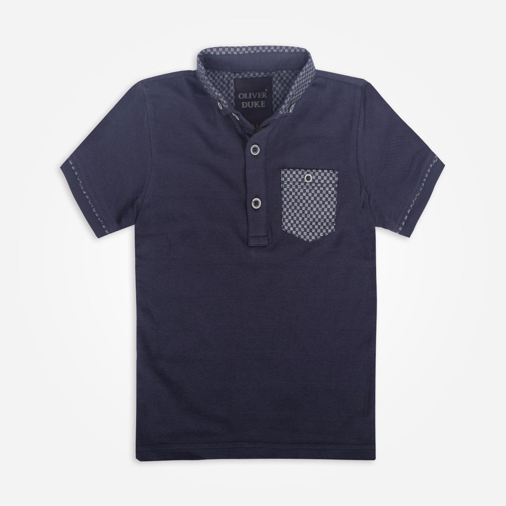 Kids Oliver Duke Gingham Trimmed Pocket Polo Shirt - klashcollection - 1