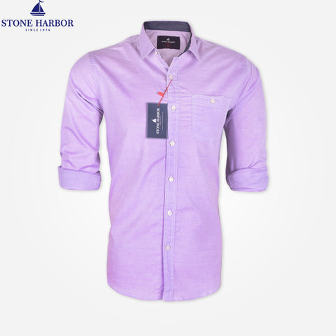 Men's Stone Harbor Single Pocket Casual Shirt - L Purple