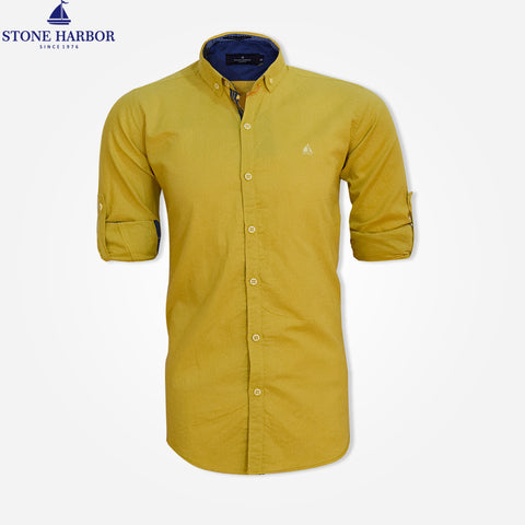 Men's Stone Harbor Long Sleeve Roll Tab End Casual Shirt - Mustard Yellow