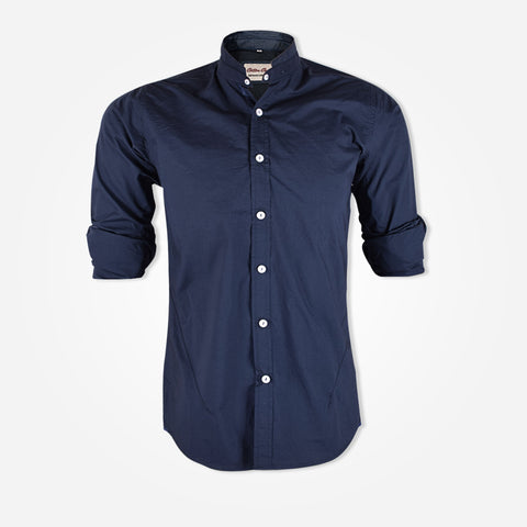 Men's Cotton Candy Banded Collar Shirts - Zinc