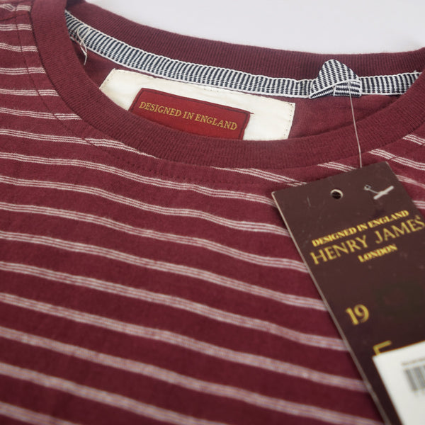 Men's Henry James Crew Neck Burgundy  pocket Tee shirt - Burgundy / White - klashcollection - 3