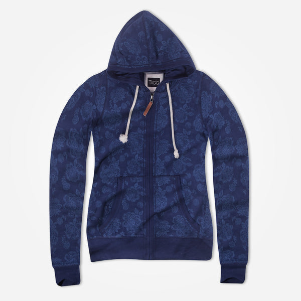 "Women 's ""TAGG""Floral allover Printed Zip through Hoodie- Navy - klashcollection - 1"