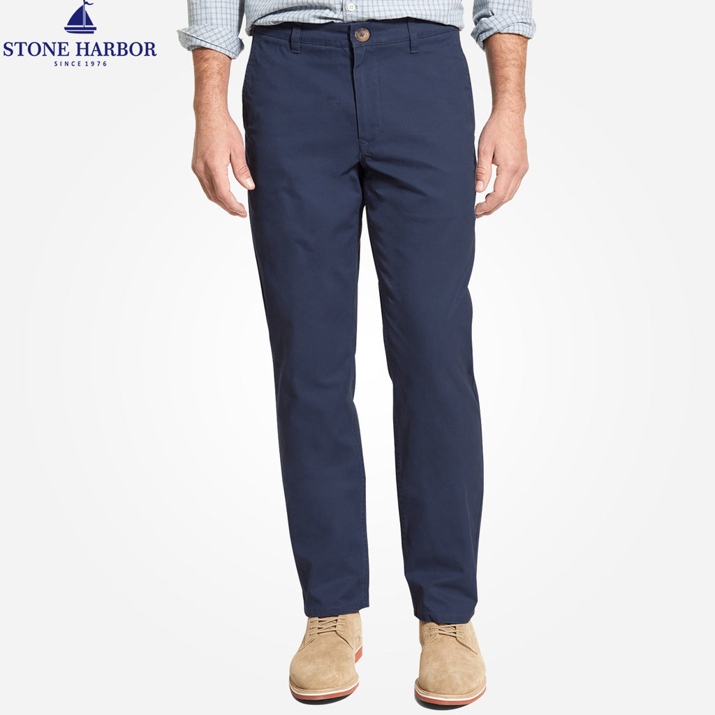 "Men's ""Stone Harbor"" Slim fit Cotton Chino Pant - Executive Navy - klashcollection - 1"