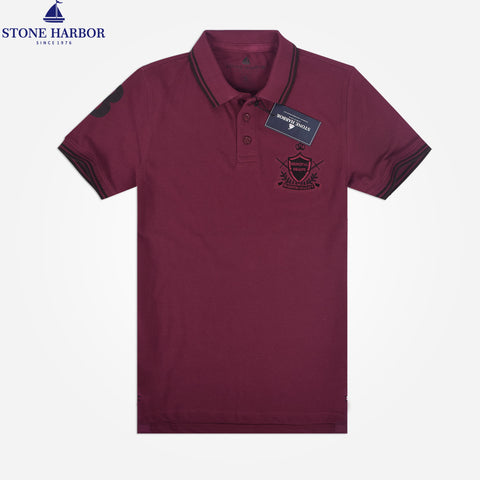 Men's Stone Harbor  Muscle Fit Badge Polo Shirt - Rumba Red