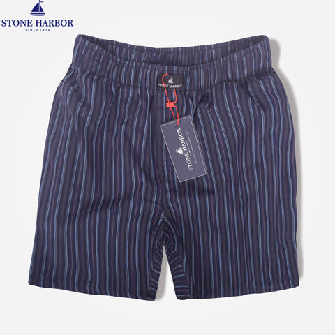 Men's Stone Harbor Navy Sky Scale Striped Woven Boxer Short - klashcollection - 1